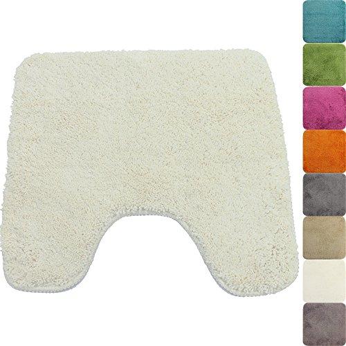 PROHEIM Badematte in vielen Formen rutschfester Badvorleger Premium Badteppich 1200 g/m² weich & kuschelig Hochflor, Farbe:Weiß, Produkt:WC Vorleger 45 x 50 cm Ausschnitt (Mikrofaser-bad)