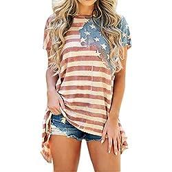 LAEMILIA T-Shirt Femmes Manches Courtes Drapeau Américain Imprimé Chemiser Col Rond Irrégulière Casual Débardeur Tops Blouse Shirts