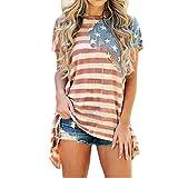 Lisli Damen T-Shirt Oversized Sommer Amerikanische Flagge Aufdruck Asymmetrisch Kurzarm Rundhals Baggy Boyfriend Stil Kurzarmshirt Basic Streetwear