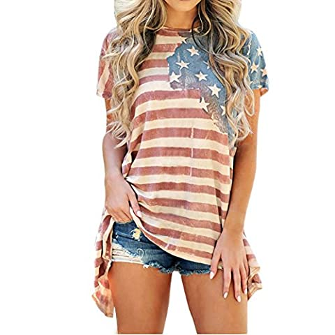 Petalum T-shirt Top Tee Shirt Femmes Manches Courte Imprimé Rayé Chemise Chemiser Blouse Casual Lâche (FR44-46, Blanc et rouge)