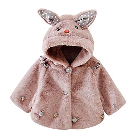 Automne Hiver Vêtements pour bébé, Moonuy Bébés filles Lapin Automne Hiver Manteau à capuchon Veste Cape Thicker vêtements chauds (4T,