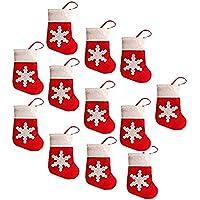 Lucklystar® Bolsillos para Cubiertos Navidad Bolsa de Cuchara el Diseño de calcetín de Navidad con Patrón de Copo de Nieve Juego de Cena Decoración Navidad12PCS