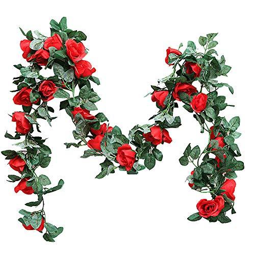Künstliche Rosenkranz zum Aufhängen, Seidenblumen für drinnen und draußen, Hochzeit, Party, DIY, Wanddekoration, 2,2 m, rot, Free Size - Rosenkranz Clip