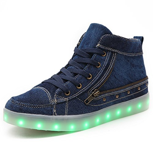 HUSK'SWARE Cowboy LED Schuhe 7 Colour USB Charging LED Bright Trainers Sportschuhe Kinder Sneakers Damen Herren Jungen Mädchen Schuhe Shoes 106/Blau