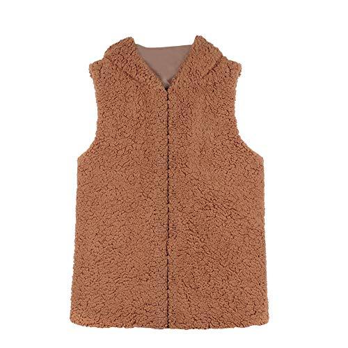 ESAILQ Damen Weste Winter Warm Hoodie Outwear Faux Reißverschluss Sherpa Jacke (S, Khaki)