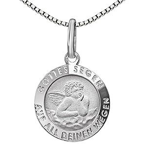 CLEVER SCHMUCK Set Silberner Anhänger Engel Ø 12 mm Gottes Segen, Rückseite zur Heiligen Taufe und Kette Venezia 36 cm Sterling Silber 925 im Etui