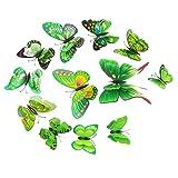 non-brand MagiDeal 12pcs Bunte 3D Schmetterlinge Wandtattoo Wanddeko Wandaufkleber Deko - Grün