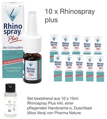 Rhinospray Plus Rhino Spray 10 x 10 ml Sparset inkl. einer hochwertigen Handcreme o. Duschbad von Pharma Nature -