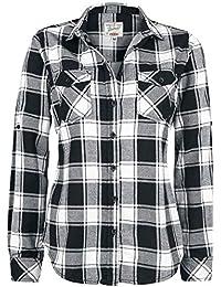Brandit Camisa a Cuadros de Franela Amy Camisa Mujer Negro-Blanco