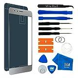 MMOBIEL Front Glas Reparatur Set für Honor 8 (Pearl White) 5.2 Inch Display Touchscreen mit 11 TLG. Werkzeug-Set/passgenauem Klebe-Sticker/Pinzette / Saugnapf/Metall Draht/Tuch
