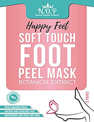 2 Pairs Foot Peel Mask, Exfoliating Socks, Callus Remover, Dead Skin Remover with Pomegranate Seed Oil and Botanical extract; Happy Feet, Peels Away Dry Dead Skin and Repairs Rough Heels by N.O.P