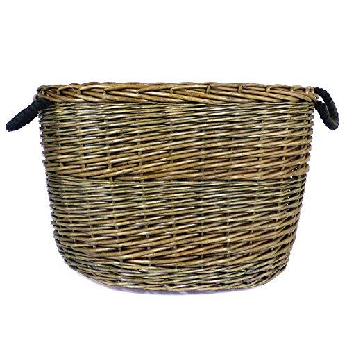 Grande envejecido acabado lavar mimbre oval cesta