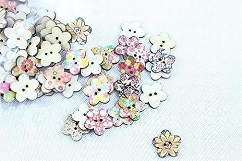 100 Pcs Patterns mixtes de boutons en bois Fleur coudre