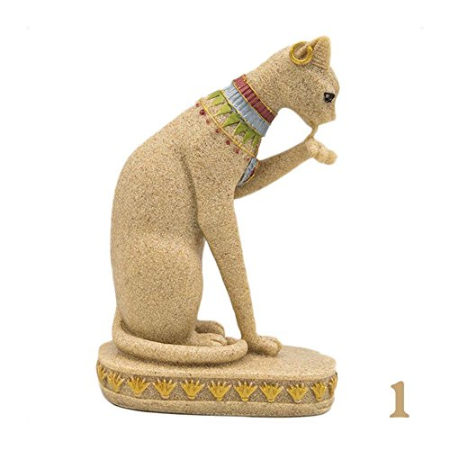 BENHAI - Egyptian Cat Statue with Sandstone, Egyptian Cat design, decoration for home and home, Beige1