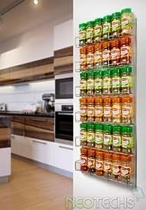 Neotechs Étagère à 6 rayons pour 36 flacons à épices pour mur ou placard de cuisine