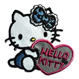Aufnäher/Bügelbild - Hello Kitty mit Herz Comic Kinder Reflex - blau - 4,5x4,7cm - by catch-the-patch® Patch Aufbügler Applikationen zum aufbügeln Applikation Patches Flicken