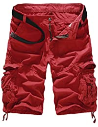 Vertvie Men's Cotton Camo Multi Pockets Casual Cargo Shorts  (34, Red)