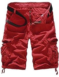 Vertvie Men's Cotton Camo Multi Pockets Casual Cargo Shorts (34, Red)
