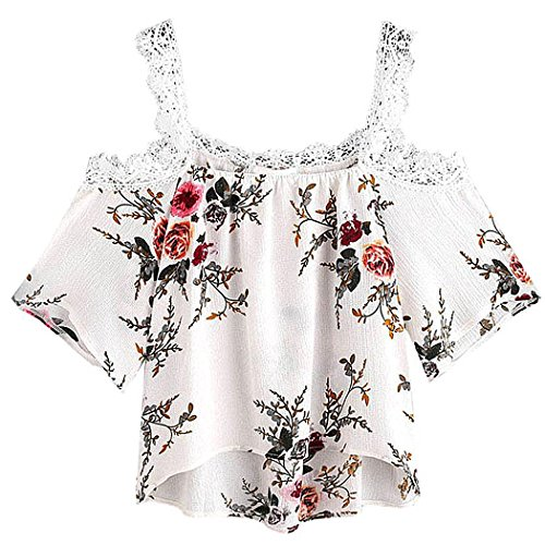 Damen Tops, VEMOW Frauen Sommer Kurzarm Off Schulter Lace Floral Bluse T-Shirt (Lace Floral Top)