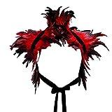 KELAND Victorien Plume Châle Etoles Cape Poncho Gothique Collier Décoration Danse Halloween (Rouge)