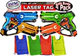 #7: Matty's Toy Stop Call of Life Infrared (IR) Laser Tag Blasters for Kids Red, Green, Blue & Yellow Deluxe Gift Set Battle Bundle with 4 Reversible Team Vests - 4 Pack