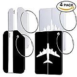 4 confezioni Etichette per bagagli Protable per bagagli valigie borse, etichetta etichetta di informazione per bagagli bagagli (nero e argento)