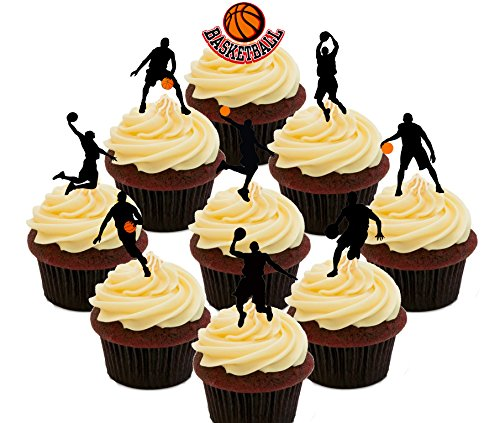 BASKETBALL Party Pack – Essbare Cupcake Topper – Stand-Up Wafer Kuchen Dekorationen, Pack of 36 (Professionelle Herren-basketball -)