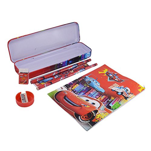 DFS's Bright Multi-colored KIDS SCHOOL STATIONERY SET COMBO With Pencil Box, Pencils, Eraser, sharpener, Ruler, Notebook + FREE ZIPPER POUCH (ASSORTED COLORS & CARTOON CHARACTERS)  available at amazon for Rs.99