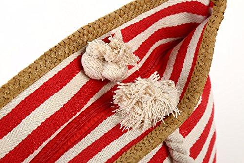 Cystyle Strandtasche Badetasche Tragetasche Einkaufstasche Shopper Umhängetasche fuer Shopping, Strand, Wandern, Urlaub, Freizeit, Schultag Rot