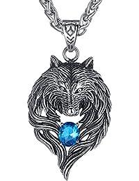 Aoiy - Collar con colgante de hombre de acero inoxidable, Lobo tribal, circonio cúbico azul, cadena de 61cm, aap059la