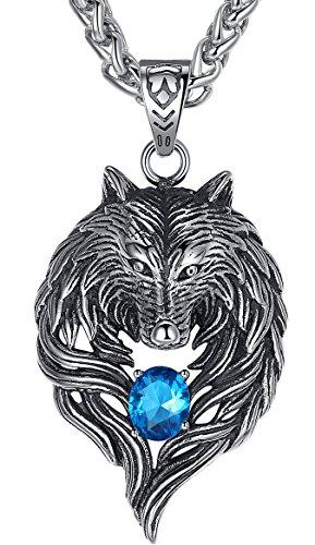 Aoiy Herren-Halskette mit Anhänger, Stammes-Wolf, Edelstahl, Blau Zirkonia, 61cm Kette, aap059la (Kette Stamm)