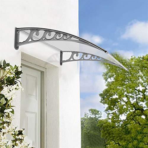 Pensilina trasparente, pensilina tettoia in policarbonato,protezione uv, resistenza alla corrosione,per porta o finestra per esterno (80 x 120cm)