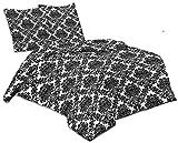 Buymax - 2 TLG Bettwäsche-Set Renforce Baumwolle mit Reißverschluss Öko-Tex, 135x200 cm, Arabeske Ranken Schwarz Weiß