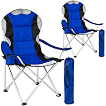 TecTake 2x Silla de camping plegable + portabebidas + práctica bolsa de transporte Marco Ø: unos 18 mm