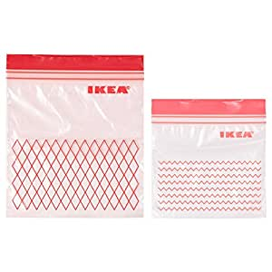 ISTAD Plastic Bag, Red, Pack of 60, Comprises: 30 bags (0.4 l) and 30 bags (1 l), Can be used over and over again since it can be re-sealed.