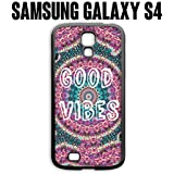 Phone Case Good Vibes Trippy Hippie Pattern for Samsung Galaxy S4 Rubber Black (Ships from CA)