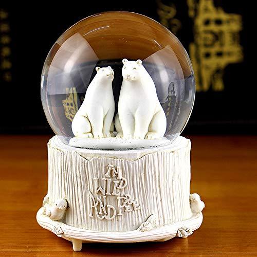 ACOMG Kreative LED Kristallkugel rotierende Spieluhr, Nachtlicht, Mondlampe Nachttischlampe, mit Schneeflocken, Romantisches Geburtstags- und Festgeschenk (Elch, Bär),Bear