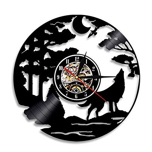 LZCHA Wanduhr Im Schallplatten-Design Wolf Und Bäume Schwarz Vinyl Record Taktgeber-