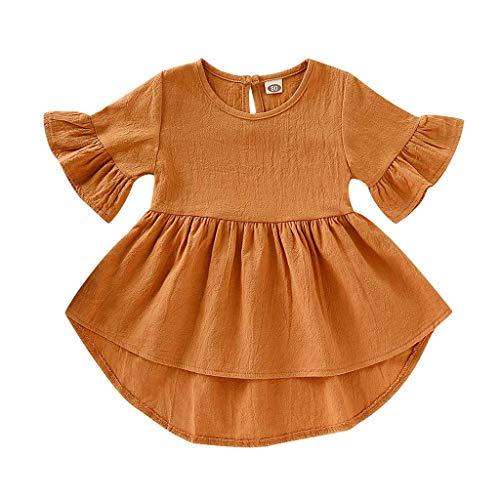 hen Kleid Einfarbig Geraffte Quasten Pwtchenty Kurzärmeliges UnregelmäßIges Pwtchenty 2019 Sommer Mädchen Sommer Kleider (100, Gelb) ()