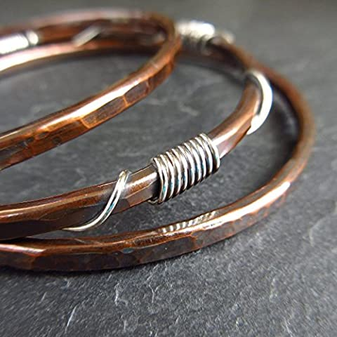 Copper Bangle Set with Sterling Silver Coils and Twists