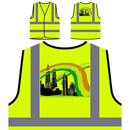 Indien Asien Kuala Lumpur Türme Welt Personalisierte High Visibility Gelbe Sicherheitsjacke Weste d806v