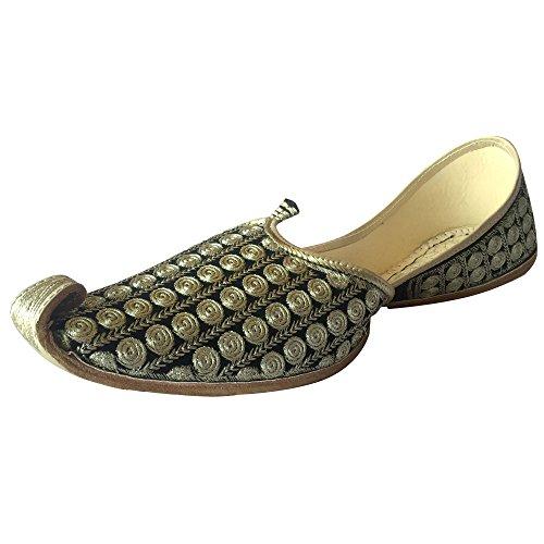 Step n Style Mens Punjabi Jutti Sherwani Shoes Black Khussa Shoes Ethnic...