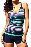 #6: Fasnoya Rainbow Stripes Tankini Swimwear