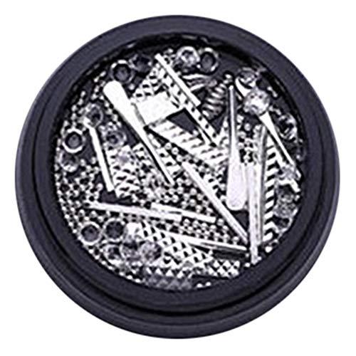 Barres en métal rectangulaires Rivets Nail Art Gemmes Strass Décorations Roue DIY Conseils