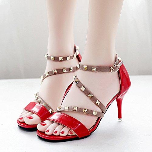 XY&GK Frau Sommer Leder Sandalen Sommer Fein mit High Heels Fashion Style Niet All-Match Frauen Sandalen, komfortabel und schön 38 red