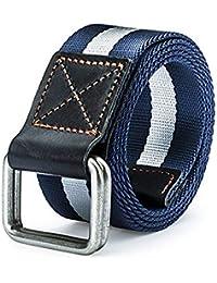 Cinturón Lona Tejido Transpirable Secado Rápido Regalos Elegante Lona  Cinturón Nylon Hombres Hombres Doble Anillo Hebilla f3b8700236f5