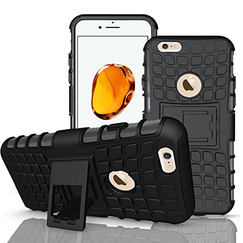 Apple iPhone 7Plus, Armor Case Tough Rugged Shock proof Armorbox Dual Layer Heavy Duty Carrying Hybrid Hard Slim Protective Case For iPhone 7 (with Kickstand) + Big Touch Pen + Screen Protector-White Black