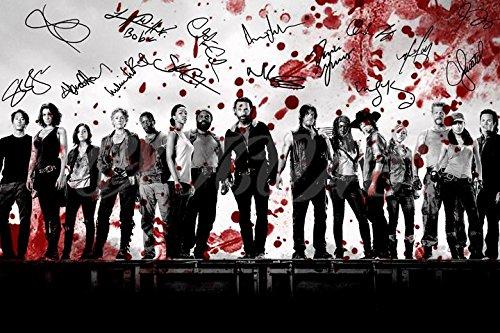 The Walking Dead Blood Kunstdruck Pre unterzeichnet Foto Poster Cast N.O 530,5x 20,3cm (A4)