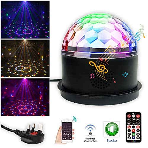 Disco Ball Party Lights, Bluetooth Speaker Dj Disco Lights 9 Colors Strobe Lights Magic Ball Dj Equipment Sound Activated Stage Lights with Remote Control for Christmas KTV Bar Home Party Wedding Club