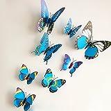 Rainbow Fox 3D Schmetterling Wandaufkleber 12 Stück Mode Schmetterling Magnetisch Wandsticker Wandaufkleber DIY Wandverzierung Wanddeko(lila)
